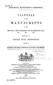 Calendar of the Manuscripts of the Most Honourable the Marquess of Salisbury ...: Preserved at Hatfield House, Hertfordshire ...