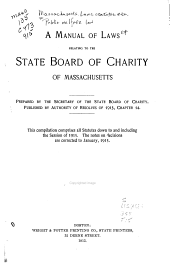 A Manual of Laws Relating to the State Board of Charity of Massachusetts
