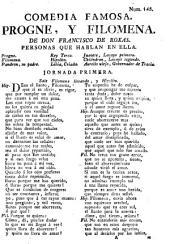 Comedia famosa, Progne, y Filomena