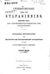 Untersuchungen ueber die Gylfaginning: Erster Teil: Das Handschriftenverhaltnis der Gylfaginning, Band 1