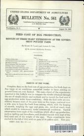 Feed cost of egg production: results of three years' experiments at the government poultry farm