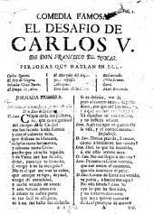 Comedia Famosa. El Desafio De Carlos V.