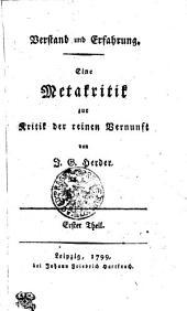 Verstand und Erfahrung: Eine Metakritik zur Kritik der reinen Vernunft. Erster Theil