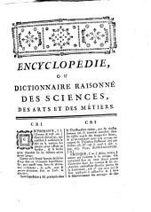 Encyclopédie ou dictionnaire raisonné des sciences des arts et des métiers