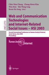 Web Communication Technologies and Internet-Related Social Issues - HSI 2003: Second International Conference on Human Society@Internet, Seoul, Korea, June 18-20, 2003, Proceedings, Volume 2