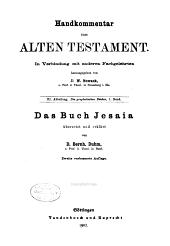 Handkommentar zum Alten Testament. In Verbindung mit anderen Fachgelehrten