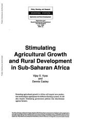 stimulating agricultural growth and rural development in sub saharan africa