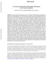 A Taxonomy of Financial Crisis Resolution Mechanisms: Cross-country Experience