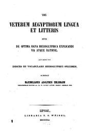 De veterum Ægyptiorum lingua et litteris: sive De optima signa hieroglyphica explicandi via atque ratione. Accedunt indices et vocabularii hieroglyphici specimen