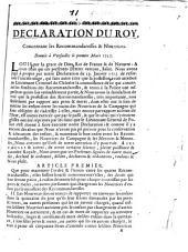 Declaration du Roy, concernant les recommandaresses & Nourrices. Donnée à Versailles le premier Mars 1727