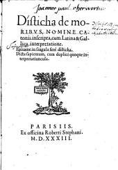 Disticha de moribus nomine catonis inscripta