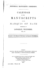 Calendar of the Manuscripts of the Marquis of Bath Preserved at Longleat, Wiltshire: The Harley papers, 1516-1785