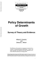 Policy Determinants of Growth: Survey of Theory and Evidence, Issue 343