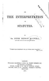 On the Interpretation of Statutes