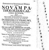 Dissertatio inauguralius medica tradens novam pathologiam calculi renum