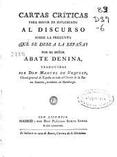 Cartas Críticas para servir de suplemento al discurso sobre la pregunta ¿Qué se debe a la España?