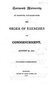 Dartmouth University ... Order of Exercises for Commencement, 1817 (1818, 23, 25, 35-37, 42-44, 49, 54, 55.).