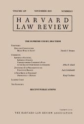 Harvard Law Review: Volume 129, Number 1 - November 2015