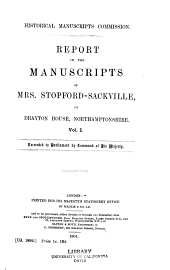 Report on the Manuscripts of Mrs. Stopford-Sackville, of Drayton House, Northamptonshire ...