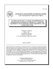 Factors affecting U.S. trade and shipments of information technology products computer equipment, telecommunications equipment, and semiconductors