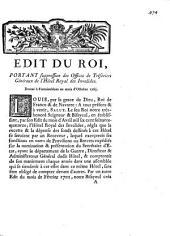 Edit du Roi. Portant suppression des offices de tresoriers generaux de l'Hotel Royal de Invalides. Donne a Fontainebleau au mois d'octobre 1763