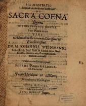 Pia meditatio sanae et orthodoxae doctrinae de s. coena