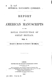 Report on American Manuscripts in the Royal Institution of Great Britain ...