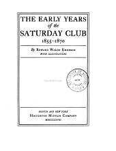 The Early Years of the Saturday Club, 1855-1870