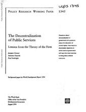 The Decentralization of Public Services: Lessons from the Theory of the Firm
