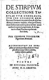 De stirpium collectione tabulae tum generales, tum per duodecim menses: cum Germanicis nominibus, & alijs hactenus a nemine traditis