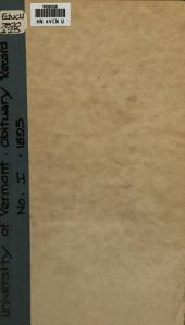 University of Vermont Obituary Record: Volume 1