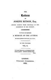 The Letters of Joseph Ritson, Esq