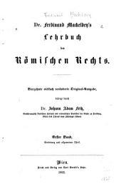 Lehrbuch des römischen rechts: Band 1