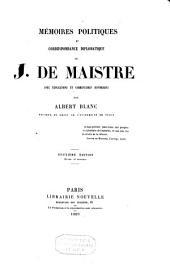 Mémoires politiques et correspondance diplomatique de J. de Maistre