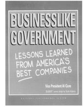 Businesslike Government: Lessons Learned from America's Best Companies, National Performance Review