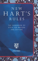 Find New Hart's Rules: The Handbook of Style for Writers and Editors at Google Books