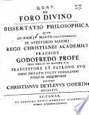 De foro divino dissertatio philosophica