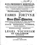 D. Io. Friderici Hertelii ... programma inaugurale de fabris ...