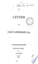 A letter to John Cartwright