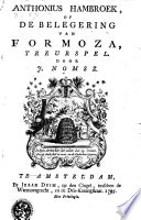 Anthonius Hambroek, of De belegering van Formoza: treurspel