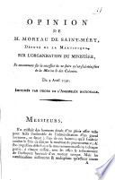 Opinion de M. Moreau de Saint-Méry , député de la Martinique ...