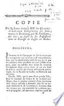 Copie de la lettre écrite [...] par M . Delabarte, fils ...