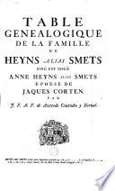 Table généalogique de la famille de Heyns, alias Smets d'où est ...