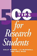 Find 500 Tips for Research Students at Google Books